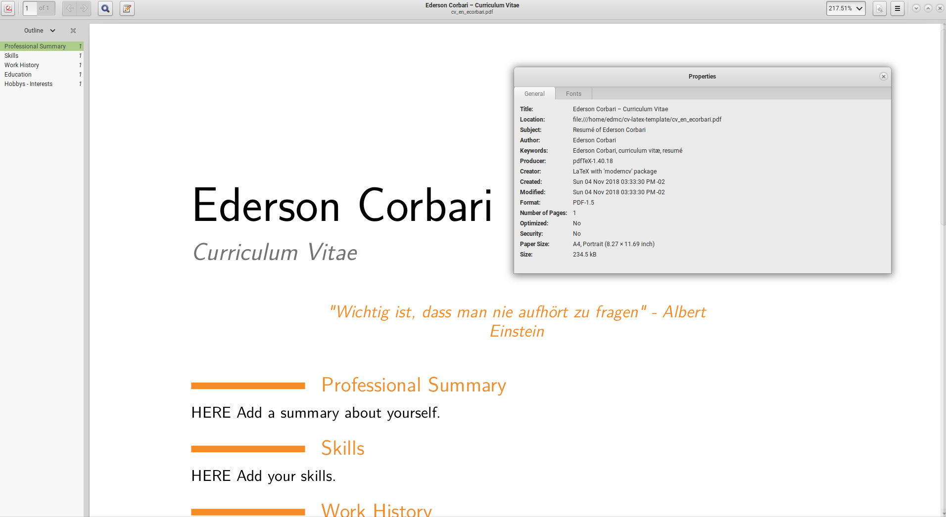 writing a curriculum vitae in latex ederson corbari
